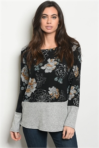 C63-B-3-T6144 BLACK GRAY FLORAL TOP 2-2-2