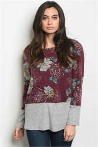 C63-B-5-T6144 BURGUNDY GRAY FLORAL TOP 2-2-2