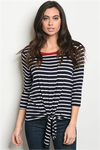 C43-B-4-T6015 NAVY IVORY STRIPES TOP 2-2-2