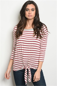 C45-B-7-T6015 BURGUNDY IVORY STRIPES TOP 2-2-2