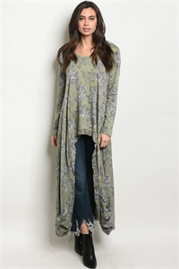 S11-20-5-T1393 GREEN FLORAL TOP 2-2-2