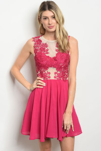 S17-10-1-D27326 FUCHSIA NUDE DRESS 2-2-2
