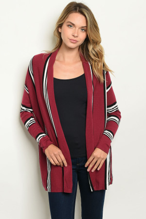 S2-6-4-C97734 WINE STRIPES CARDIGAN 2-2-2
