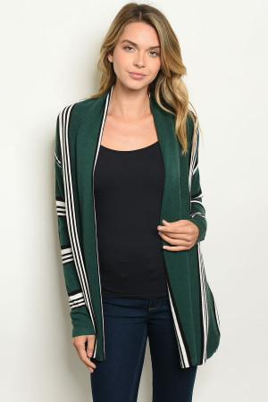 S2-6-4-C97734 GREEN STRIPES CARDIGAN 2-2-2