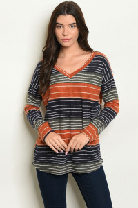 126-2-5-T8134 EARTH NAVY STRIPES TOP 2-3-2