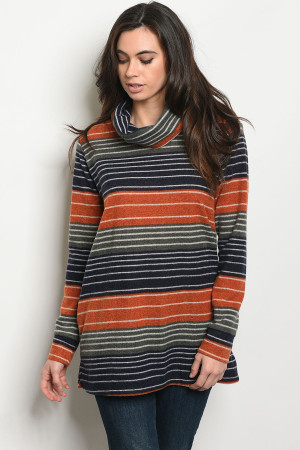 S20-12-2-T8105 EARTH NAVY STRIPES TOP 3-2-3