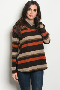 SA3-4-1-T8108 EARTH BROWN STRIPES TOP 2-2-2