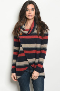 S11-19-3-T8107 NAVY WINE STRIPES TOP 2-2-2