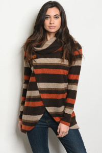 S15-10-3-T8107 EARTH BROWN STRIPES TOP 1-3-3