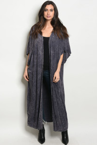 C24-A-6-C334642 PURPLE WASHED CARDIGAN / 6PCS
