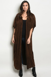 C23-A-7-C334642 BROWN WASHED CARDIGAN / 6PCS
