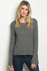 C23-B-1-T8966 BLACK IVORY STRIPES TOP 3-1-2