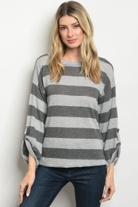 C30-B-7-T3643 GRAY CHARCOAL STRIPES TOP 3-2-1