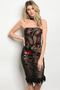 C92-A-1-D50306 BLACK RED WITH SEQUINS DRESS 1-3-4