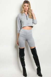 C97-B-1-SET30561 GRAY TOP & SHORTS SET 1-4