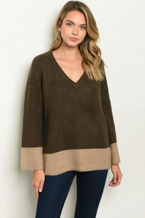 S8-12-4-S32434 OLIVE TAN SWEATER 2-2-2