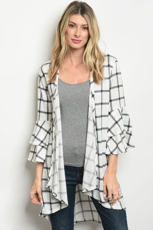 C63-A-3-C2796 WHITE BLACK CHECKERED CARDIGAN 2-2-2