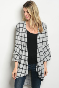 C63-A-3-C2796 GRAY BLACK CHECKERED CARDIGAN 2-2-2