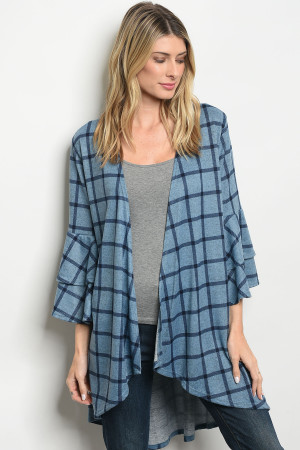 C63-A-3-C2796 BLUE NAVY CHECKERED CARDIGAN 2-2-2