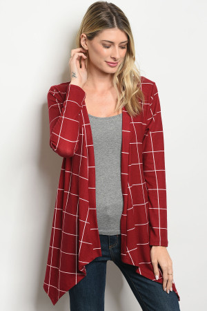 C63-A-3-C2983A BURGUNDY WHITE CHECKERED CARDIGAN 2-2-2