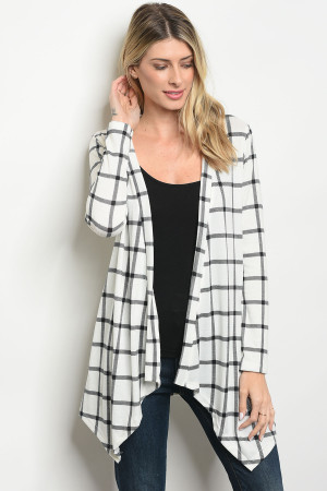 C74-A-5-C2983 WHITE BLACK CHECKERED CARDIGAN 2-2-2