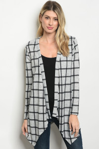 C71-A-1-C2983 GRAY BLACK CHECKERED CARDIGAN 3-2