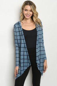 C74-A-3-C2983 BLUE NAVY CHECKERED CARDIGAN 2-2-2