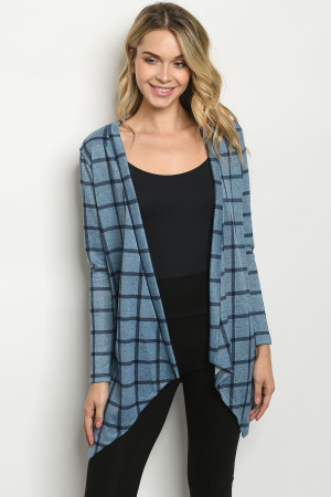C74-A-5-C2983 BLUE NAVY CHECKERED CARDIGAN 2-2-2