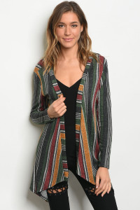 C76-A-6-C2983B GREEN MULTI STRIPES CARDIGAN 2-2-2
