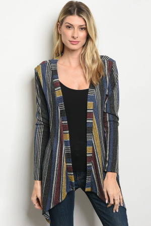 C76-A-2-C2983B BLUE MULTI STRIPES CARDIGAN 2-2-2