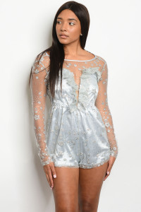 S16-3-3-R40099 LIGHT BLUE SILVER ROMPER 2-2-2  ***WARNING: California Proposition 65***