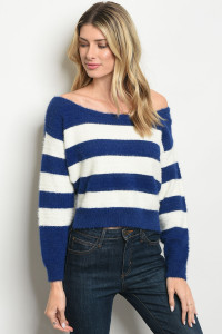S22-1-4-T2075 IVORY NAVY STRIPES SWEATER 4-2-1