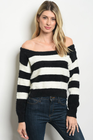 S3-7-5-T2075 IVORY BLACK STRIPES SWEATER 3-2-1