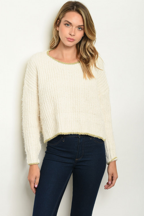 S3-10-1-T0093 CREAM GOLD SWEATER 3-2-1