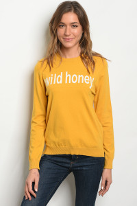 "S3-10-5-T2227 MUSTARD ""WILD HONEY"" PRINT TOP 3-2-1"