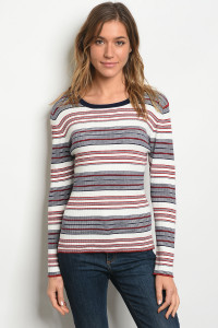 S15-7-6-T2157 IVORY BURGUNDY STRIPES TOP 3-2-1
