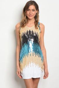 S20-1-2-D226 GOLD TEAL WITH SEQUINS DRESS 3-2-2