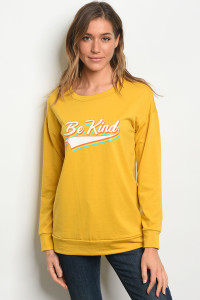 "C36-B-2-T40452 MUSTARD ""BE-KIND"" PRINT TOP 2-2-2-1"