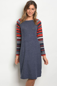C50-A-5-D3911107 NAVY RED STRIPES DRESS 2-2-2-1