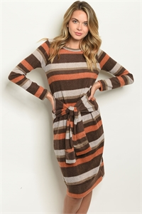 C67-A-6-D3893106 BROWN EARTH DRESS 2-2-2-1