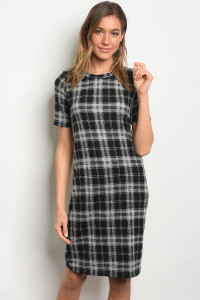 C80-A-5-D380246 BLACK GRAY CHECKERED DRESS 2-2-2