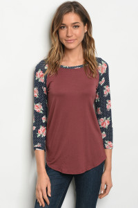 C80-B-4-T3998080 MAUVE NAVY TOP 2-2-2-1