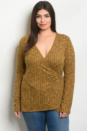 S16-5-1-T1164X MUSTARD PLUS SIZE TOP 2-2-2