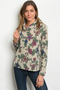 S21-12-3-T65802 TAUPE FLORAL TOP 1-1-2