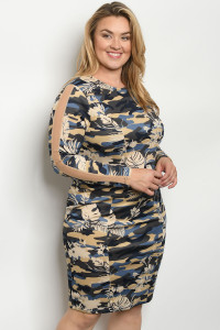 SA3-00-2-D59426X NAVY CAMOUFLAGE PLUS SIZE DRESS 2-2-2