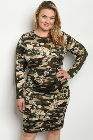 SA3-00-3-D59426X OLIVE CAMOUFLAGE PLUS SIZE DRESS 2-2-2