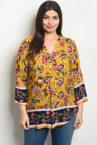 S21-7-6-T51624X MUSTARD FLORAL PLUS SIZE TOP 2-1-3