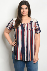S21-7-6-T25556X NAVY EARTH STRIPES PLUS SIZE TOP 2-3-1