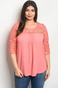 S21-7-6-T51473X CORAL PLUS SIZE TOP 2-1-1