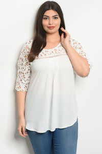 S22-10-4-T51473X WHITE PLUS SIZE TOP 2-2-2